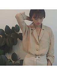 Zeichen Korea Retro-Chic Sinn für Mode Kragen chic Pyjamas Kräuselung Langarmhemd Hemdbluse