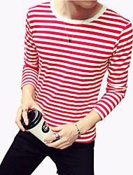 Tee-Shirt Pour des hommes Rayé Décontracté / Grandes Tailles Manches longues Polyester / Spandex Noir / Bleu / Rouge