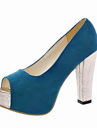 Sandals Summer Comfort Suede Casual Chunky Heel Hollow-out Black Blue Walking