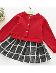 Girl's Solid Dress,Others Winter Long Sleeve