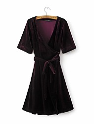 Women's Casual/Daily Holiday Sexy Simple Sophisticated Sheath Dress,Solid Bow Deep V Above Knee Short SleeveAcrylic Polyester Spandex