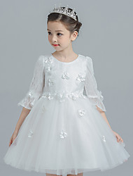 Ball Gown Knee-length Flower Girl Dress - Cotton Tulle Half Sleeve Jewel with Flower(s) Lace
