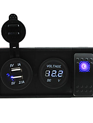 DC 12V/24V 3.1A USB port Sockets and voltmeter with rocker switch jumper wires and housing holder