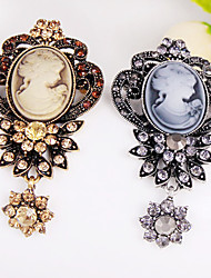 The Hollow Retro Beauty Head Flower Brooch Pendant