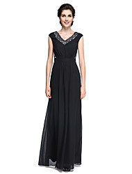 Sheath / Column V-neck Floor Length Chiffon Mother of the Bride Dress with Lace by LAN TING BRIDE®