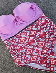 Bikinis Aux femmes Taille Haute Fleur Licou Polyester