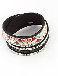 Women's Leather Bracelet Leather Rhinestone Alloy Hip-Hop Button Red Blue Dark Gray Light Pink Jewelry 1pc