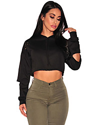 Women's Ripped Hoodie Crop Top