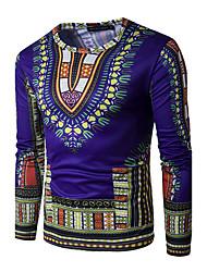 Tee-shirt Hommes,Géométrique Sortie Habillées simple Actif Printemps Automne Manches Longues Col Arrondi Bleu Rouge Vert Jaune Violet