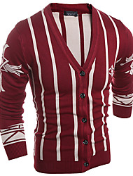 Men's Casual/Daily Simple Regular Cardigan,Striped Blue Red V Neck Long Sleeve Cotton Polyester Spring Fall Medium Micro-elastic