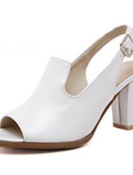 Damen-Sandalen-Büro Kleid Lässig-PU-Blockabsatz-Neuheit Fersenriemen-Schwarz Weiß