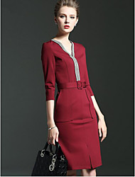 Women's Formal Work Street chic Sophisticated Bodycon Dress,Solid V Neck Above Knee ¾ Sleeve Cotton Polyester Spandex Red BlackSpring