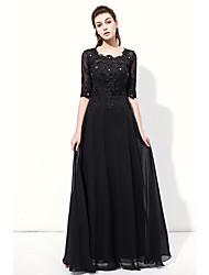 Vestido de noite formidável com vestido de chiffon com espessura e comprimento de piso