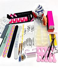 33sets à prova de derramamento postou 100pcs pontas das unhas 8 zebra canetas artigo combinação escova kit areia prego