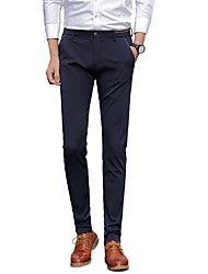 Men's Plus Size Straight Slim Chinos Business Pants,Going out Casual/Daily Work Vintage Simple Street chic Solid Low Rise Zipper Button