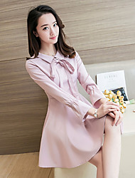 Sign new bow doll collar waist dress retro Hepburn little black dress long-sleeved dress bottoming