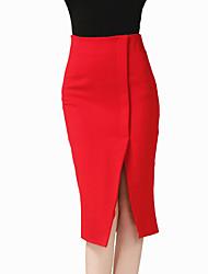 Feminino Tamanhos Grandes Saias-Bodycon Cor Única Com Fenda-Sexy Simples Cintura Alta Casual Trabalho Longuete Elasticidade Poliéster