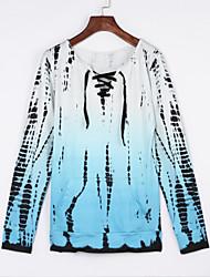 Damen Druck Einfach Ausgehen / Lässig/Alltäglich T-shirt,Rundhalsausschnitt Sommer / Herbst Langarm Blau Polyester Undurchsichtig