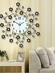 Free Shipping Pastoral Flower Iron Rhinestone Living Room Bedroom Watch Clocks Large Decorative Wall Clock Saat Horloge Murale