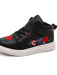 Girl's Athletic Shoes Spring Fall Winter Comfort PU Casual Low Heel Magic Tape Black White Drak Red Other