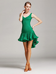 Danse latine Robes Femme Spectacle Entraînement Dentelle Dentelle Au drapée 1 Pièce Sans manche Taille moyenne Robe
