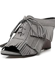 Damen-Sandalen-Kleid Lässig-Vlies-KeilabsatzSchwarz Grau Hellbraun