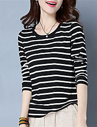 Fashion Round Neck Long Sleeves Wild Tops Dating Play Home Daily Leisure Stripe T-Shirt