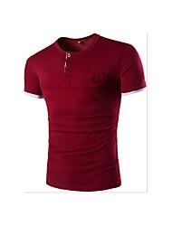 Tee-shirt Hommes,Couleur Pleine Décontracté / Quotidien simple Manches Courtes Col en V Bleu Gris Coton