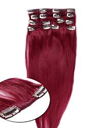 clipe de atenção integral em cabelo humano remy virgem tramas cabelo liso natural # 27 7pcs / set 70-80g