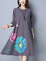 Women's Casual/Daily Street chic Loose Dress Print Round Neck Midi Long Sleeve Cotton /Linen Black /Gray Spring /Fall