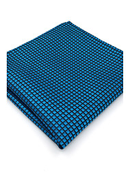 BH25 Mens Pocket Square Blue Solid 100% Silk Business Casual Jacquard New For Men