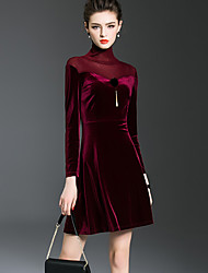 Women's Going out Street chic A Line Dress,Patchwork Turtleneck Above Knee Long Sleeve Polyester Red Green Spring Fall Mid Rise