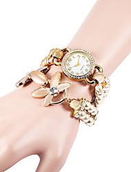 Femme Montre Diamant Simulation Bracelet de Montre Quartz Imitation de diamant Plastique Bande Perles Elégantes Blanc KakiCafé Blanc de