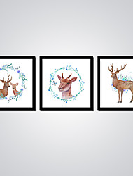 Stretched Flowers Canvas Print Beautiful Deers Abstract Painting Modern 3pcs/set Canvas Wall Art for Home Decoration