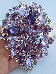 alliage à la mode de couleur argentée cristal strass violet la broche broche fleur des femmes