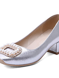 Women's Heels Spring Summer Fall Other Synthetic Office & Career Party & Evening Dress Low Heel Pearl Pink Silver Gold