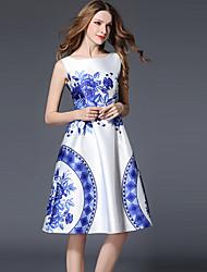 Gaine Robe Femme Sortie Chinoiserie,Imprimé Col Arrondi Mi-long Sans Manches Blanc Polyester Printemps Eté Taille Normale Non Elastique