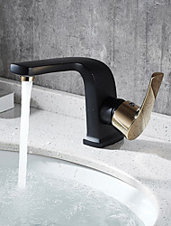 Contemporary Deck Mounted Pre Rinse with  Ceramic Valve Single Handle One Hole for  Painting , Bathroom Sink Faucet