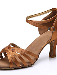 Women's Dance Shoes Satin Satin Latin Sandals Low Heel Practice Performance Black Brown Gold Customizable