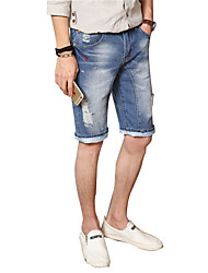 Men's Plus Size Slim Jeans Shorts Pants,Casual/Daily Club Sports Vintage Street chic Active Solid Ripped Low Rise Zipper Button Cotton