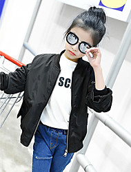 Girl's Fashion Going out Casual/Daily Holiday Cotton Long Sleeve Solid Color Jacket Children Spring/Fall Cartoon Embroidered Coat