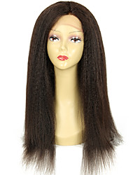 Malaysian Human Hair kinky Straight Lace Front Wig Natural Color Glueless 13*6 Front Lace Wigs