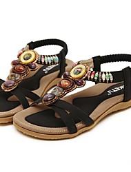 Women's Sandals Spring Summer T-Strap Leatherette Outdoor Athletic Casual Flat Heel Wedge Heel Rhinestone Gore Black Beige