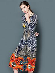 EWUS/Women's Going out Casual/Daily Beach Boho Sophisticated Sheath DressGeometric V Neck Midi  Sleeve Silk Gray Spring Summer High Rise