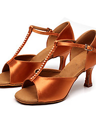 Customizable Women's Dance Shoes Fabric Fabric Latin Modern Sandals Stiletto HeelPractice Beginner Professional Indoor Outdoor
