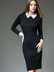 Women's Formal Work Sophisticated Bodycon Dress,Solid Shirt Collar Knee-length Long Sleeve Cotton Black Spring High Rise Micro-elastic