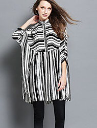 Women's Plus Size Going out Beach Vintage Simple Cute Loose Dress,Striped Stand Above Knee ¾ Sleeve Batwing Sleeve Polyester White Black
