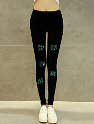 Sign spot diamond pattern ultra elastic jeans spring new Korean yards elastic waist leggings