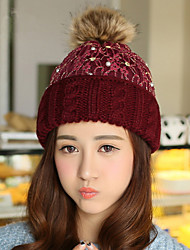 Winter Warm Lace Pearl Knitted Hat Women 'S Mixed Color Wool Hat