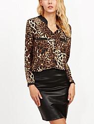 Женский На каждый день Праздник Весна Осень Рубашка V-образный вырез,Секси Очаровательный Леопард Коричневый Длинный рукав,Полиэстер,